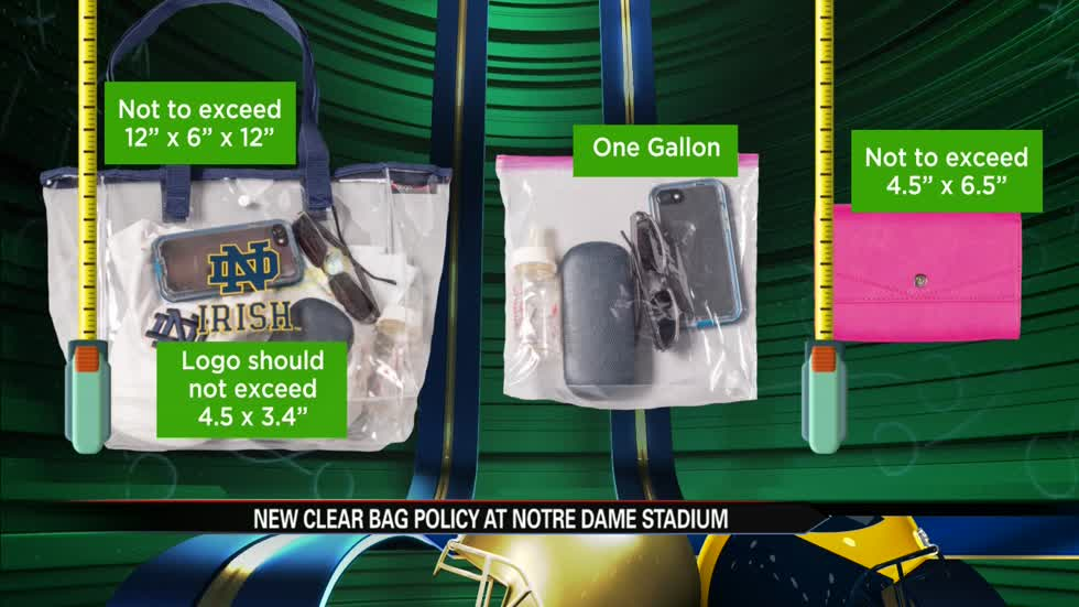 Only clear bags allowed at Notre Dame Stadium