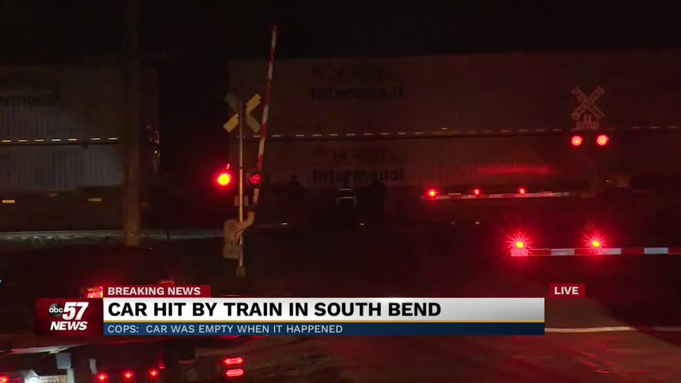 Police investigating after two trains hit empty car in South Bend