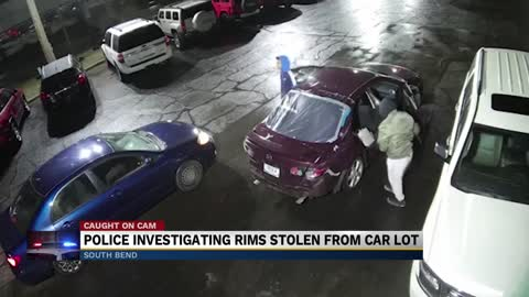 Police investigating rims stolen from car lot in South Bend