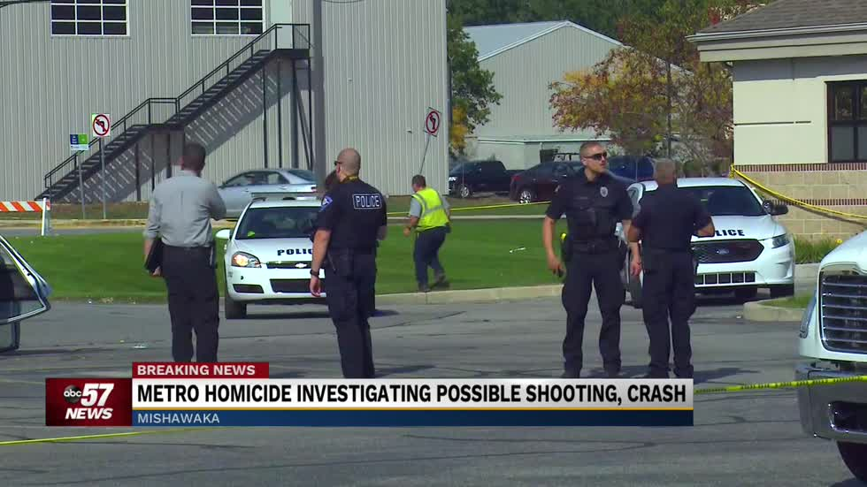 Police on scene of crash and possible shooting in Mishawaka