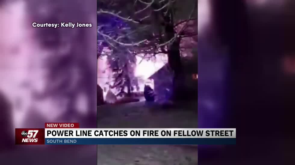 Power line catches fire, leaving many homes in the dark
