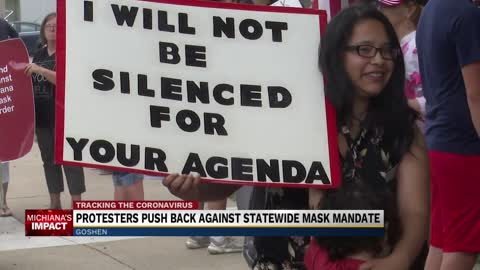 Protest against Indiana statewide mask order in Goshen