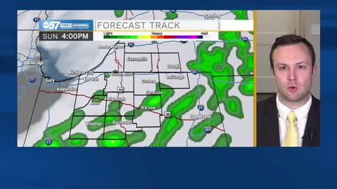 Scattered showers Sunday morning