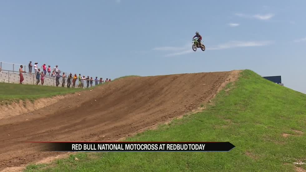 Professional motocross racers hit the dirt at Red Bull RedBud National