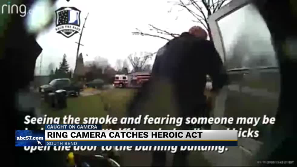 Ring video captures heroic South Bend officer during house fire