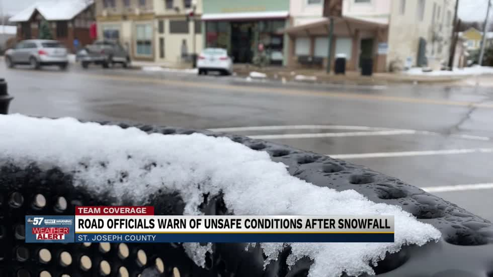 Road officials warn of unsafe conditions after snowfall