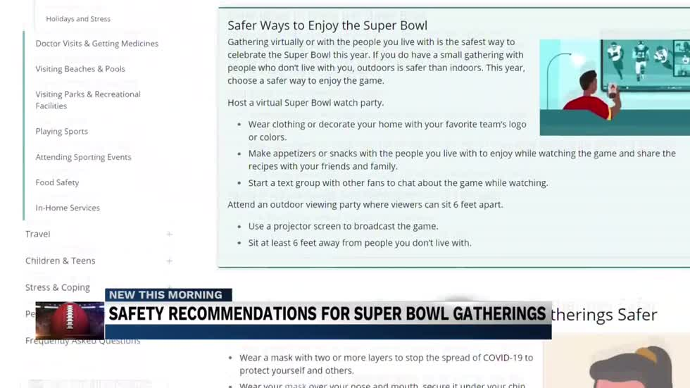 Safety recommendations for Super Bowl gatherings