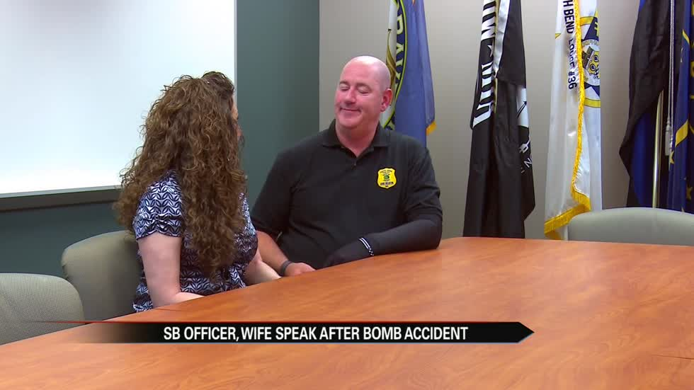 SBPD officer and wife speak after bomb training accident