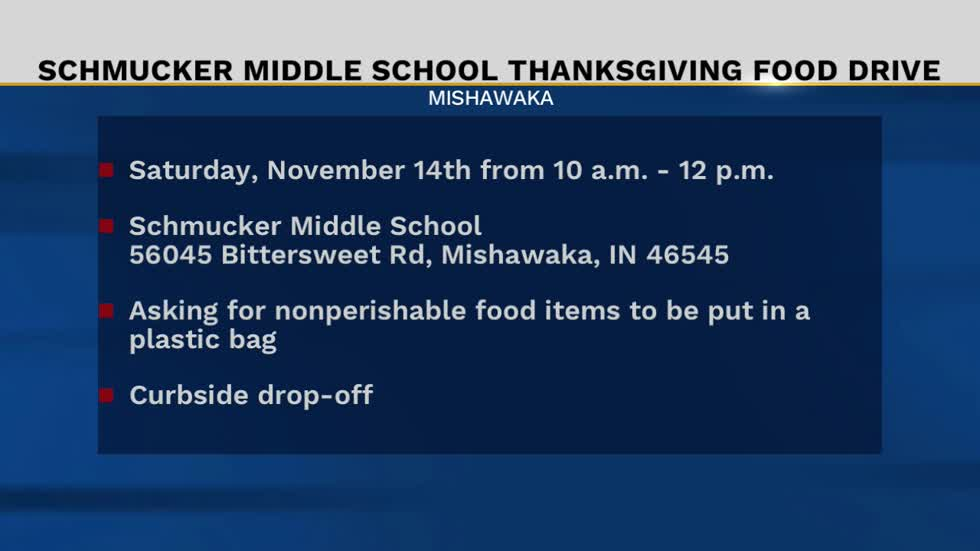 Schmucker Middle School asking for Thanksgiving food donations