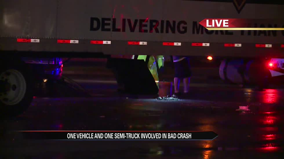 Vehicle ends up under semi in South Bend crash