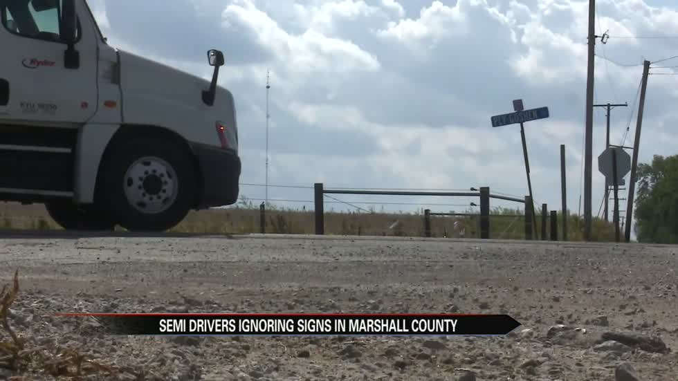 Semis ignoring signs in Marshall County prompts concern for safety and road conditions