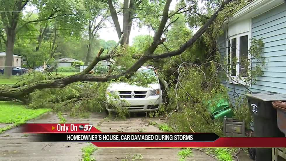 Severe thunderstorms cause damage to a South Bend woman's property