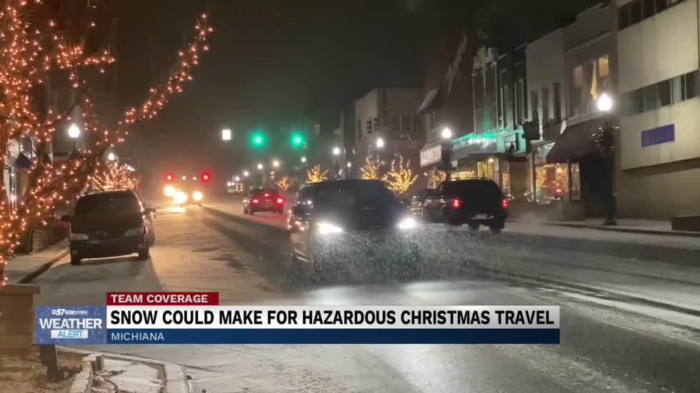 Snowfall causing hazardous roads during Christmas travel