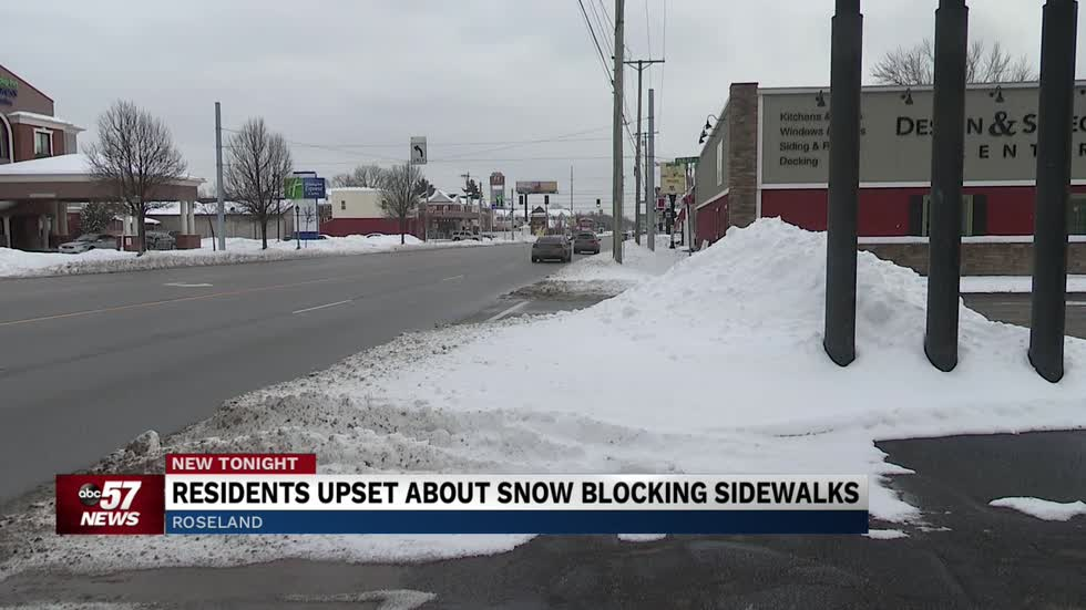 Snow covered sidewalks causing dangerous walking conditions in Roseland