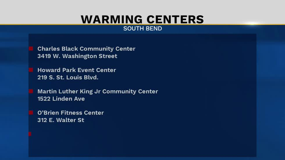 South Bend community centers offering warming centers