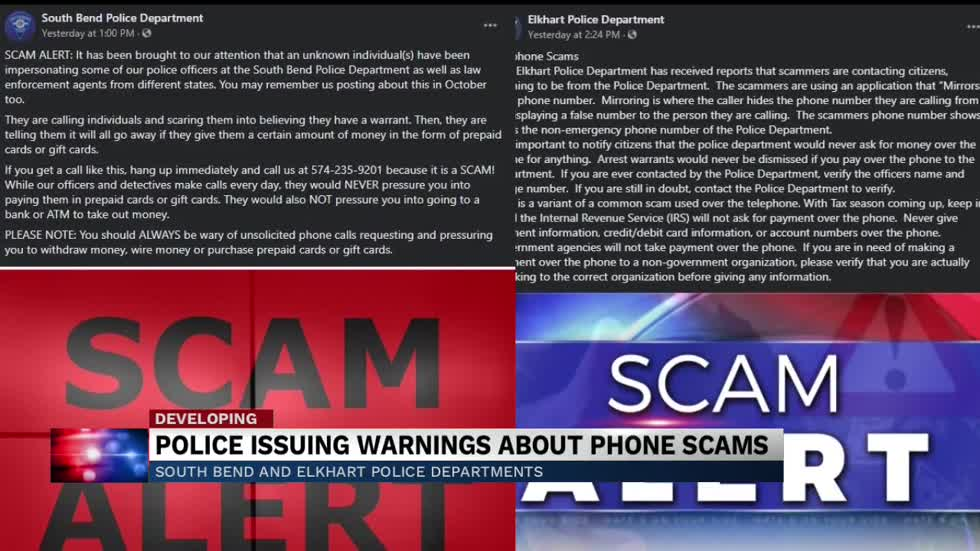 South Bend, Elkhart Police warn against phone scams