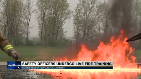 South Bend International Airport conducts annual live fire training...