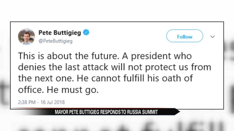 South Bend Mayor Pete Buttigieg responds to Trump, Putin meeting