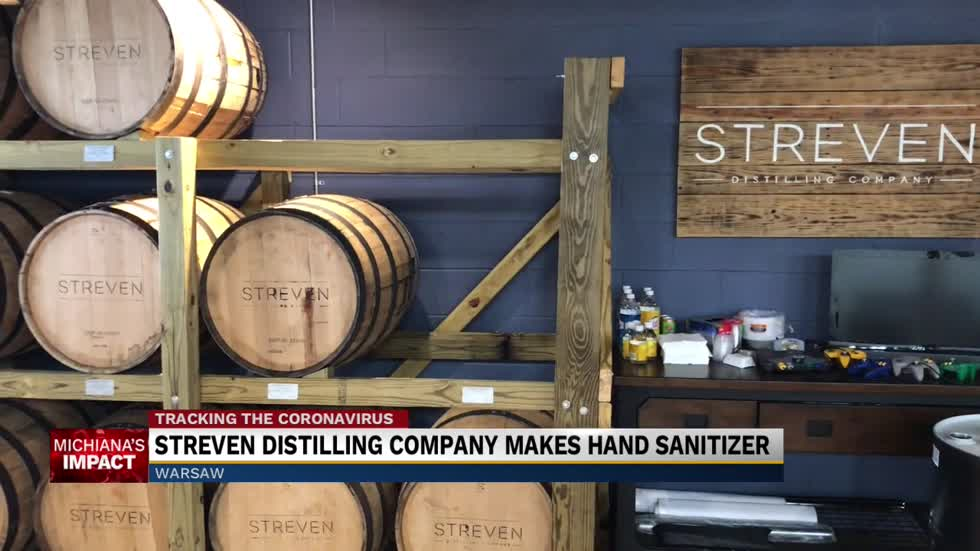 Streven Distilling company makes hand sanitizer