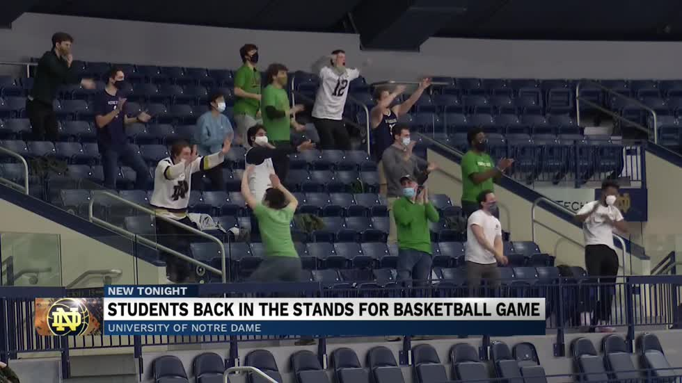 Students back in the stands for Notre Dame basketball game