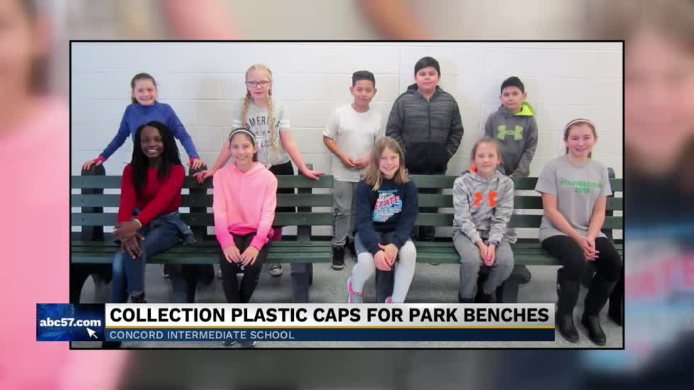 Concord Intermediate School students, staff create benches from recycled plastic caps