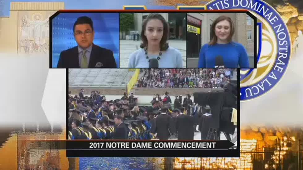 Students walk out of Notre Dame graduation, protesting Vice President