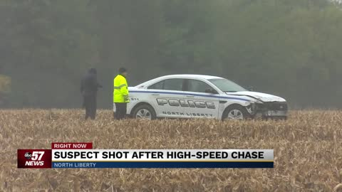 Suspect shot after high-speed chase