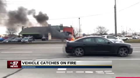 SUV catches fire in parking lot of Mishawaka restaurant