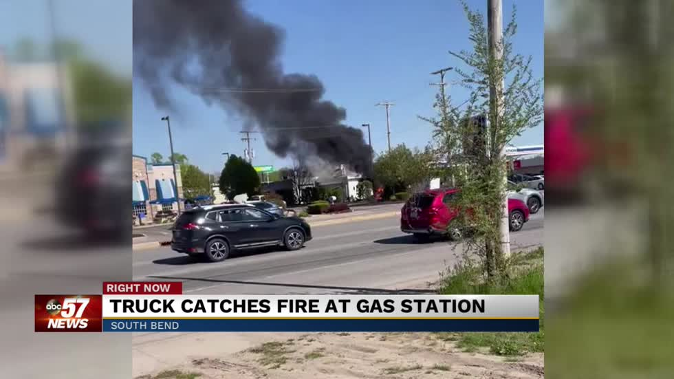 Truck catches fire at gas station