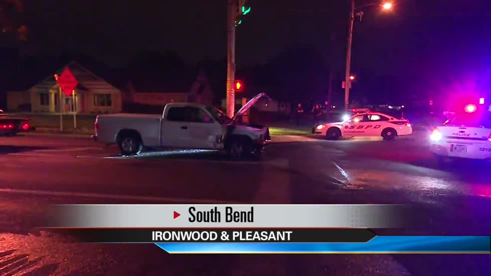 Truck catches fire near Ironwood in South Bend