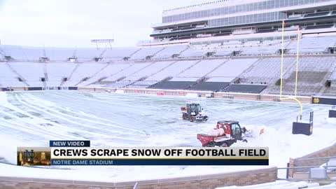 University crews clear snow from Notre Dame Stadium, soccer fields
