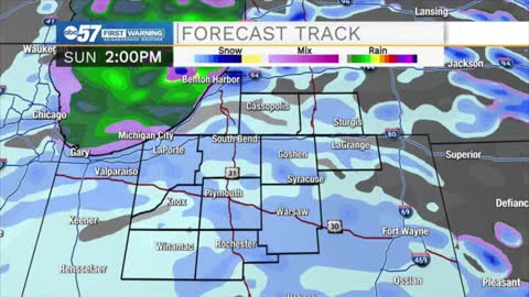 Sunday snow showers, tapering off Monday