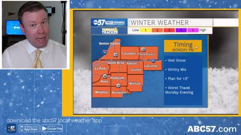 Forecast focus remains on Monday's winter storm