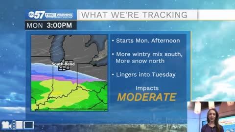 Few snow showers Sunday ahead of main snow event Monday