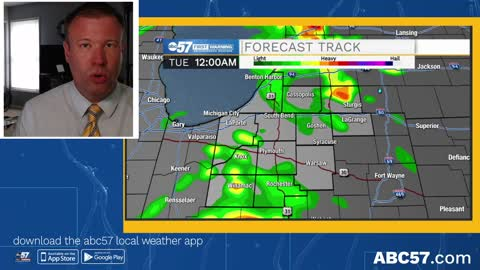Scattered showers tonight, cool and cloudy Tuesday
