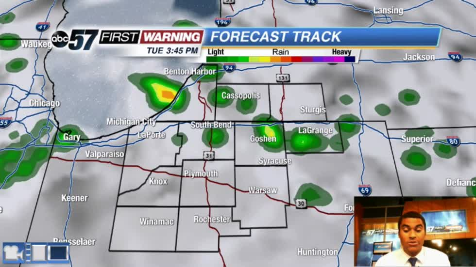 Rain chances today, brighter midweek