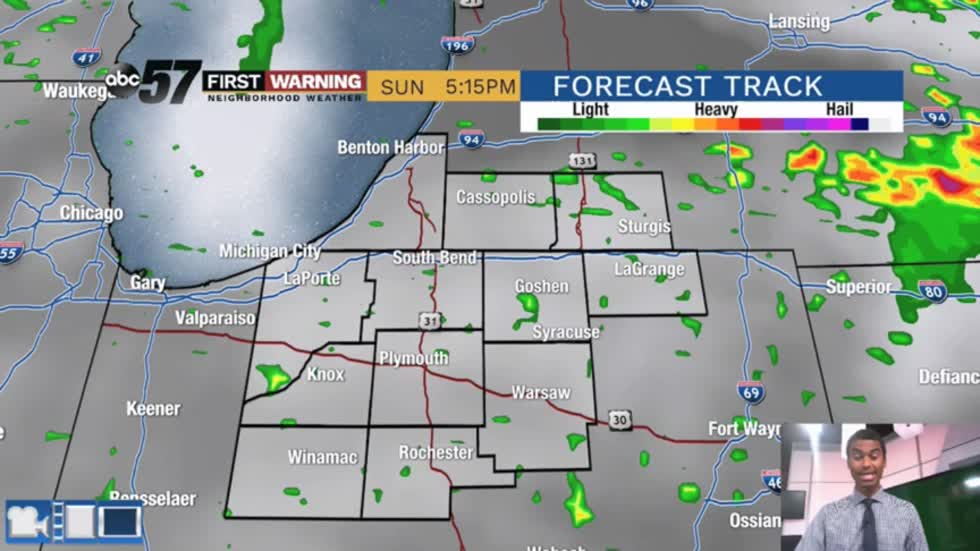 An isolated storm today; widespread rain Monday