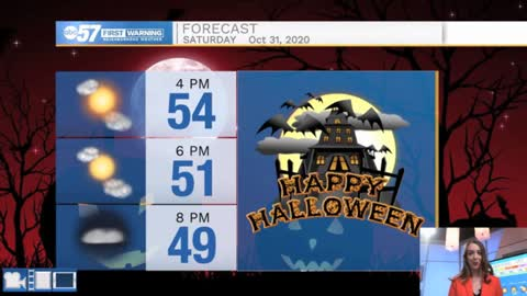 Pleasant Halloween; few snowflakes possible Sunday