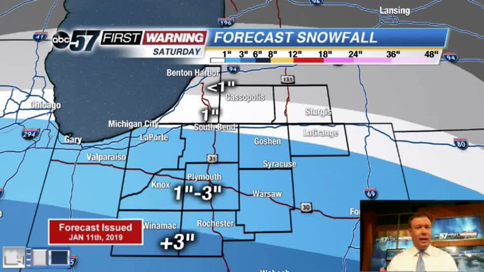 Snowy Saturday, Michiana on the edge of a Midwest storm