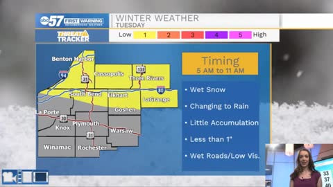 Snow or wintry mix Tuesday morning turns to rain by afternoon