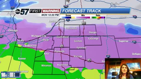 Freezing rain and mixed showers possible this evening