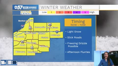 Light morning snow then flurries possible