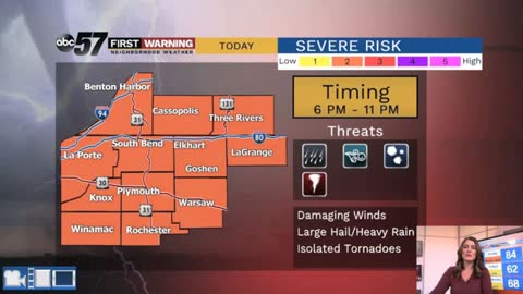 Severe threat today then windy Wednesday