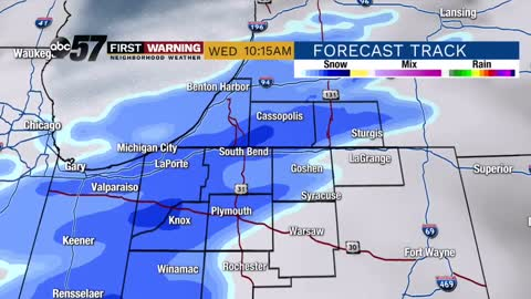 Snow and wintry mix chances today and Friday