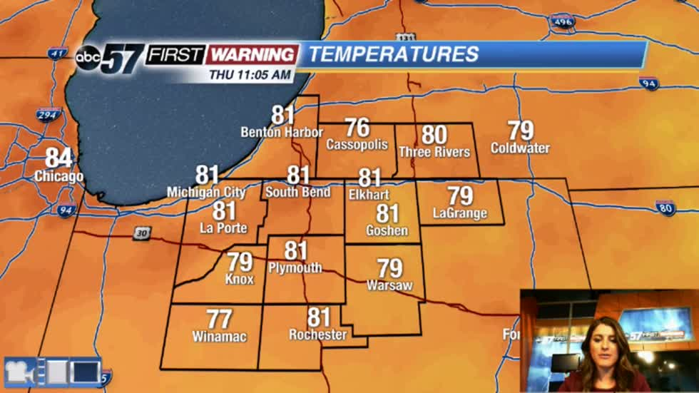 Warmer and humid today with storms tonight