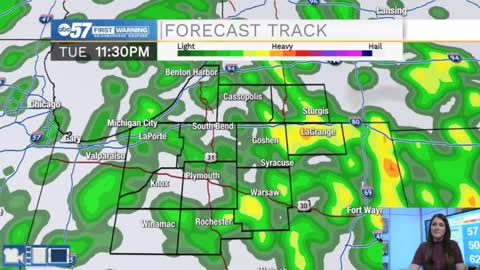 Warming up with overnight rain chances