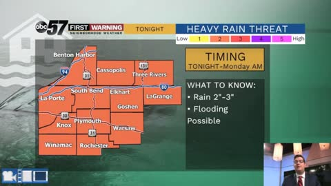 Heavy rain likely overnight, flooding possible