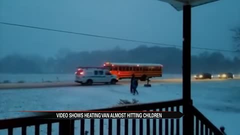 Video shows heating van almost hitting children