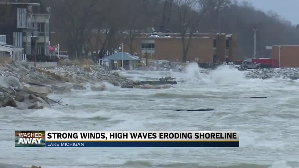 Washed Away: Strong wind, high waves pummel Michigan shoreline