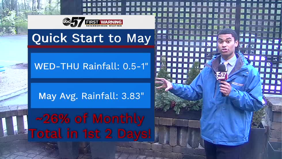 Wet stretch continues into May